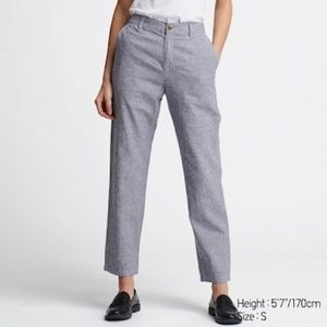 uniqlo blue linen cotton tapered pants